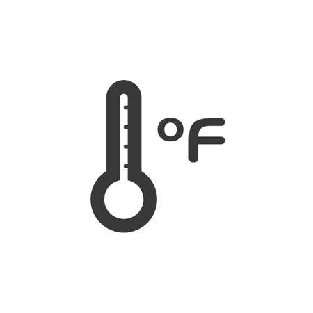 Farenheit thermometer. Temperature measure. Isolated icon. Weather glyph vector illustration