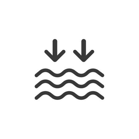 Low tide. Waves on the sea. Isolated icon. Weather glyph vector illustration Vettoriali