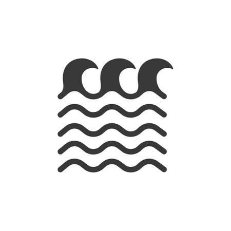 High waves on the sea. Isolated icon. Weather glyph vector illustration Illustration