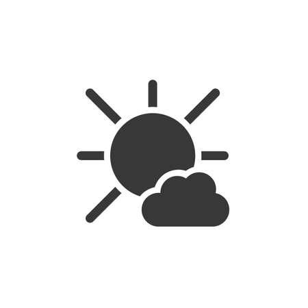 Sunny day and cloud. Isolated icon. Weather glyph vector illustration Illustration