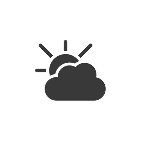 Cloudy day and sun. Isolated icon. Weather glyph vector illustration