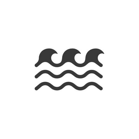 Low waves on the sea. Isolated icon. Weather glyph vector illustration