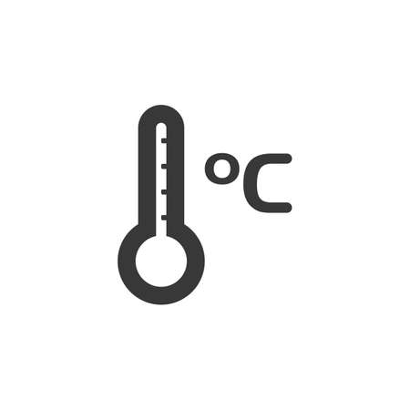 Celsius thermometer. Temperature measure. Isolated icon. Weather glyph vector illustration Illustration