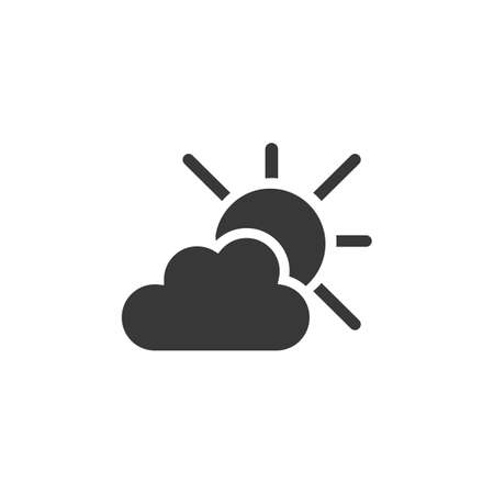 Sun and clouds. Isolated icon. Weather glyph vector illustration Illustration