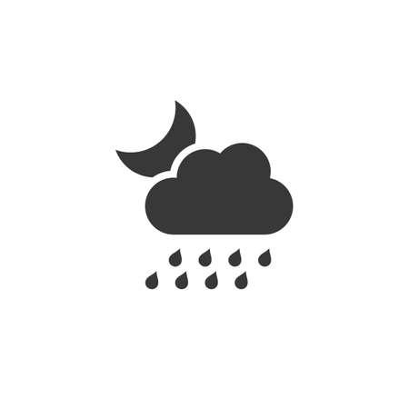 Heavy rain, cloud and moon. Isolated icon. Night weather glyph vector illustration 矢量图像