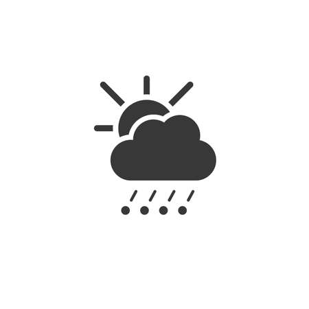 Hail and rain, cloud and sun. Isolated icon. Weather glyph vector illustration