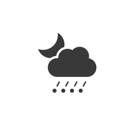 Rain and hail, cloud and moon. Isolated icon. Night weather glyph vector illustration 矢量图像