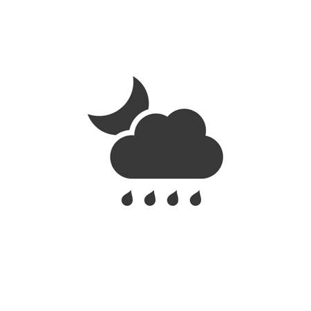 Raindrops, cloud and moon. Isolated icon. Night weather glyph vector illustration