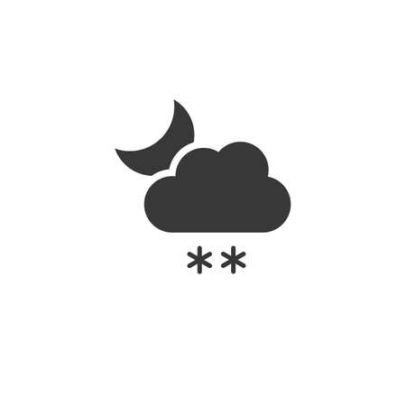 Snow, cloud and moon. Isolated icon. Night weather glyph vector illustration