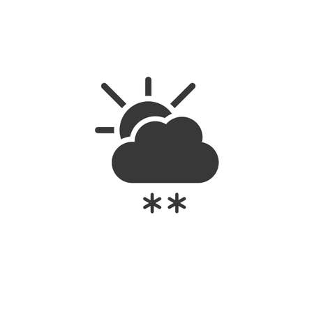 Snow, cloud and sun. Isolated icon. Weather glyph vector illustration