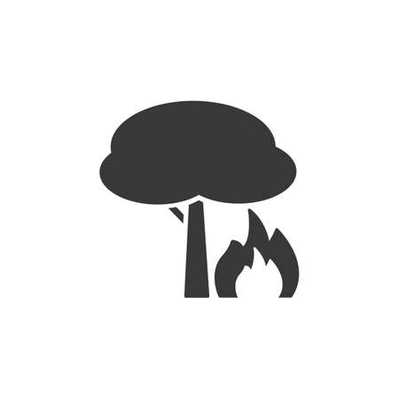 Fire and tree. Isolated icon. Weather glyph vector illustration Illustration