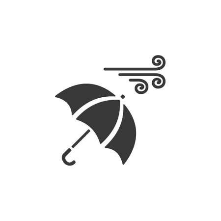 Umbrella and heavy wind. Isolated icon. Weather glyph vector illustration Иллюстрация