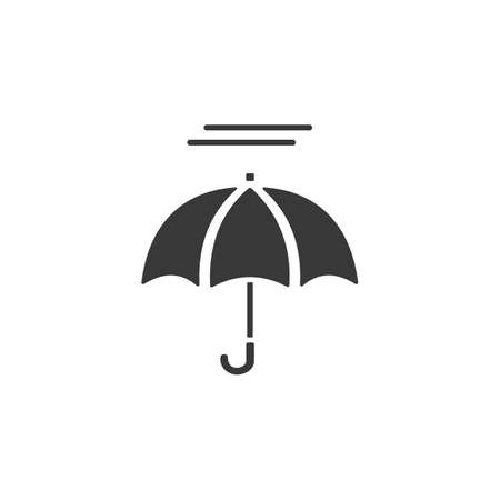 Umbrella and fog. Isolated icon. Weather glyph vector illustration