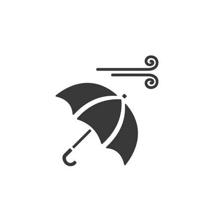 Umbrella and wind. Isolated icon. Weather glyph vector illustration