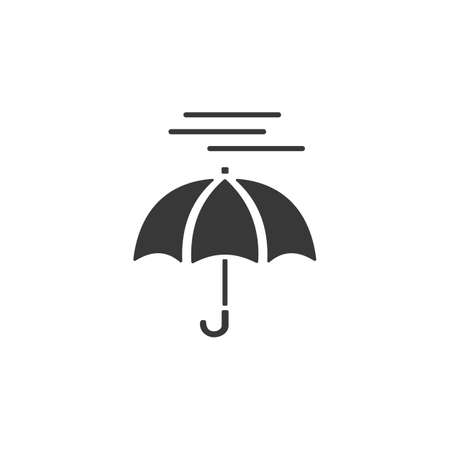 Umbrella and heavy fog. Isolated icon. Weather glyph vector illustration