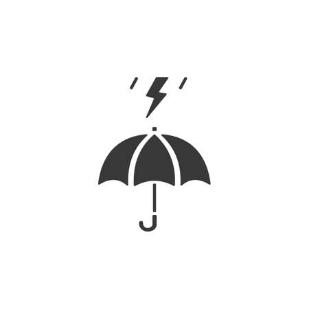 Umbrella and storm. Isolated icon. Weather glyph vector illustration