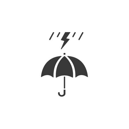 Umbrella and heavy storm. Isolated icon. Weather glyph vector illustration