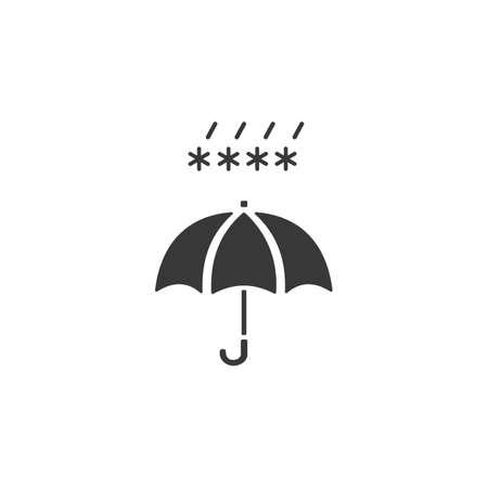 Umbrella and sleet. Isolated icon. Weather glyph vector illustration