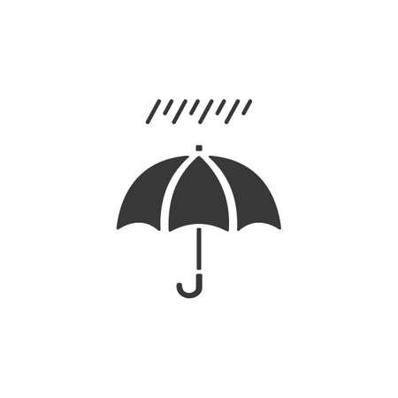 Umbrella and soft rain. Isolated icon. Weather glyph vector illustration