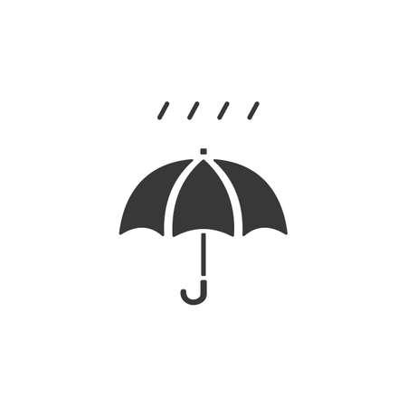 Umbrella and very soft rain. Isolated icon. Weather glyph vector illustration Иллюстрация