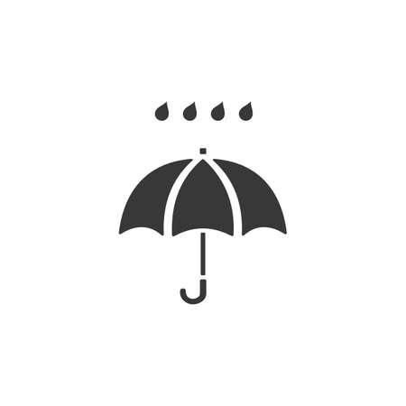 Umbrella and heavy rain. Isolated icon. Weather glyph vector illustration Иллюстрация