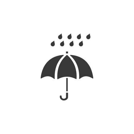Umbrella and very heavy rain. Isolated icon. Weather glyph vector illustration