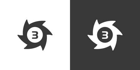 Hurrincane. Category three. Third rate. Isolated icon on black and white background. Weather glyph vector illustration 向量圖像