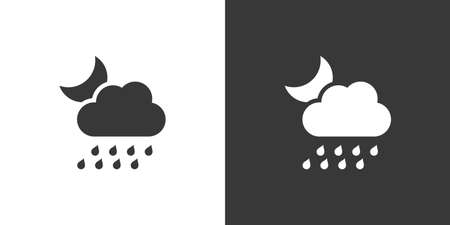 Heavy rain, cloud and moon. Isolated icon on black and white background. Weather glyph vector illustration