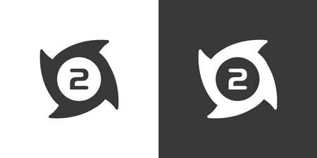Hurricane. Category two. Second rate. Isolated icon on black and white background. Weather glyph vector illustration 向量圖像