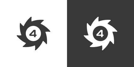 Hurricane. Category four. Fourth rate. Isolated icon on black and white background. Weather glyph vector illustration 向量圖像