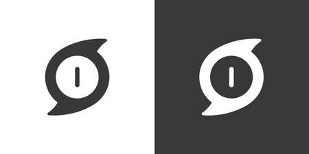 Hurricane. Category one. First rate. Isolated icon on black and white background. Weather glyph vector illustration