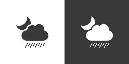 Soft rain, cloud and moon. Isolated icon on black and white background. Weather glyph vector illustration Vettoriali