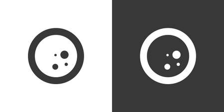 Moon phase. Full moon. Isolated icon on black and white background. Weather glyph vector illustration