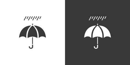 Umbrella and soft rain. Isolated icon on black and white background. Weather glyph vector illustration Vettoriali