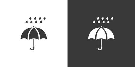 Umbrella and very heavy rain. Isolated icon on black and white background. Weather glyph vector illustration Vettoriali