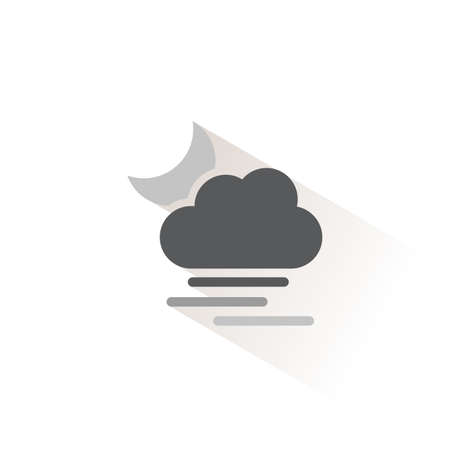 Heavy fog, cloud and moon. Isolated color icon. Weather glyph vector illustration