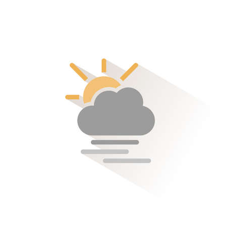 Heavy fog, cloud and sun. Isolated color icon. Weather glyph vector illustration