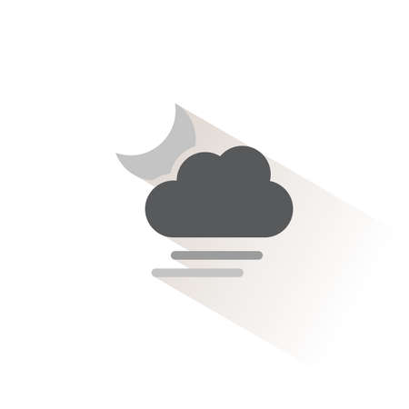 Soft fog, cloud and moon. Isolated color icon. Weather glyph vector illustration