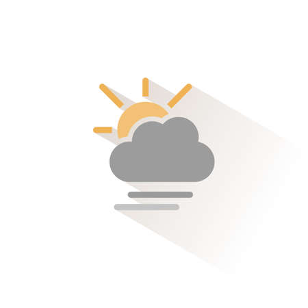 Soft fog, cloud and sun. Isolated color icon. Weather glyph vector illustration