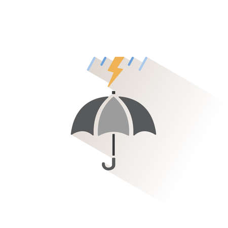 Umbrella and heavy storm. Isolated color icon. Weather glyph vector illustration