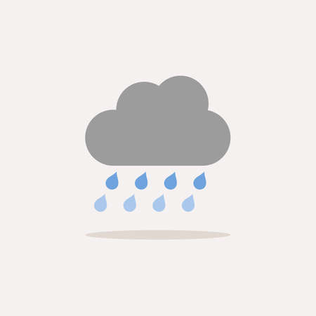 Heavy rain and cloud. Color icon with shadow. Weather glyph vector illustration