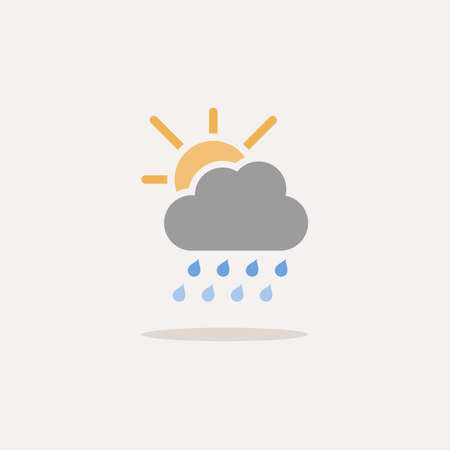 Heavy raindrops, cloud and sun. Color icon with shadow. Weather glyph vector illustration