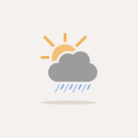 Heavy rain, cloud and sun. Color icon with shadow. Weather glyph vector illustration Çizim