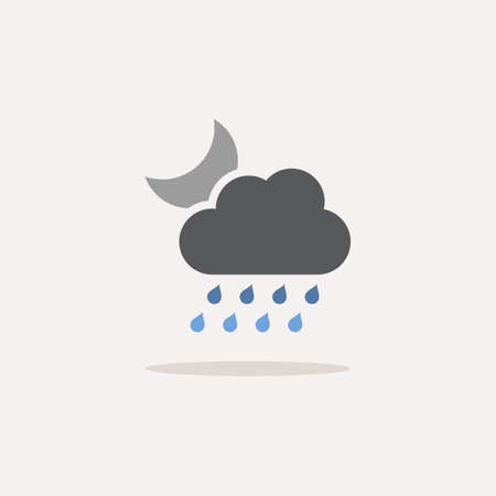 Heavy rain, cloud and moon. Color icon with shadow. Weather glyph vector illustration