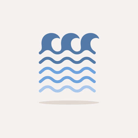 High waves on the sea. Color icon with shadow. Weather glyph vector illustration