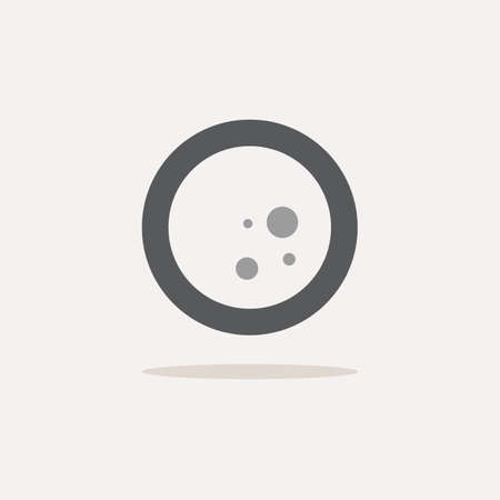 Moon phase. Full moon. Color icon with shadow. Weather glyph vector illustration