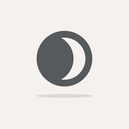 Moon phase. Waxing crescent. Color icon with shadow. Weather glyph vector illustration