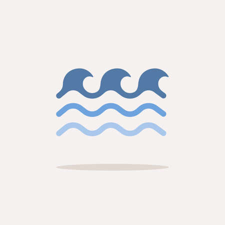 Low waves. Color icon with shadow. Weather glyph vector illustration Vettoriali