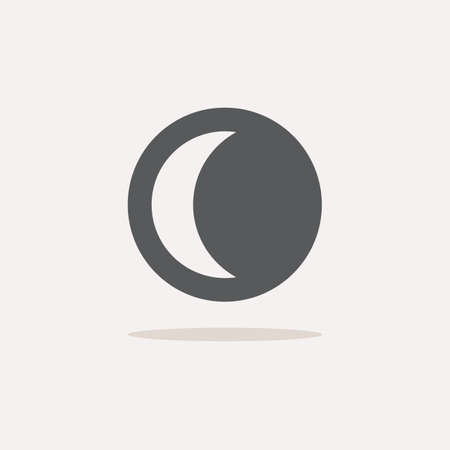 Moon phase. Waning crescent. Color icon with shadow. Weather glyph vector illustration Illusztráció