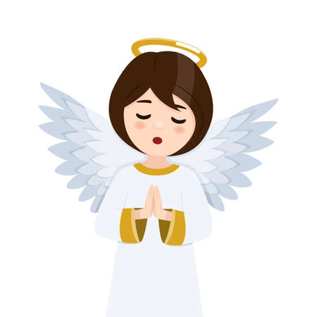 Foreground praying angel in heaven on a white background. Isolated flat vector illustration